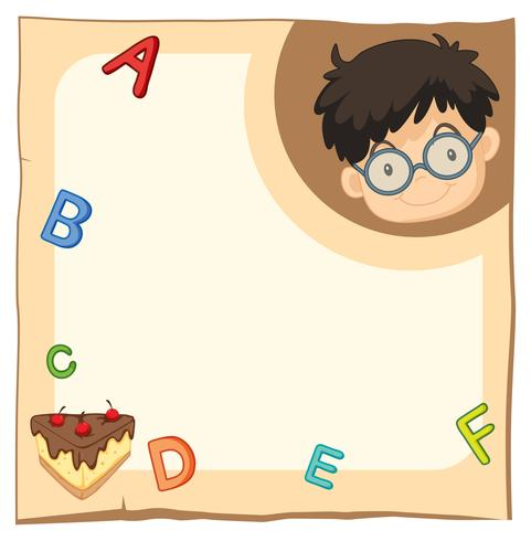 Paper template with happy boy and alphabets vector