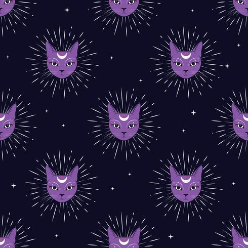 Violet cat face with moon on night sky seamless pattern background. Cute magic, occult design. vector