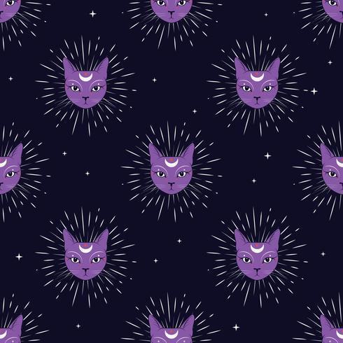 Cara violeta del gato con la luna en fondo inconsútil del modelo del cielo nocturno. Magia linda, diseño oculto.
