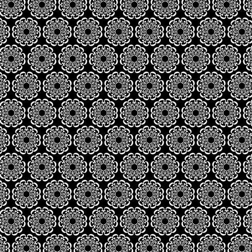 black white ornate circular medallion pattern vector