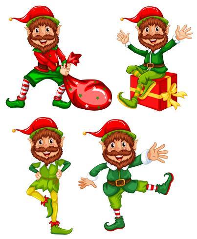 Un conjunto de elfos navideños. vector