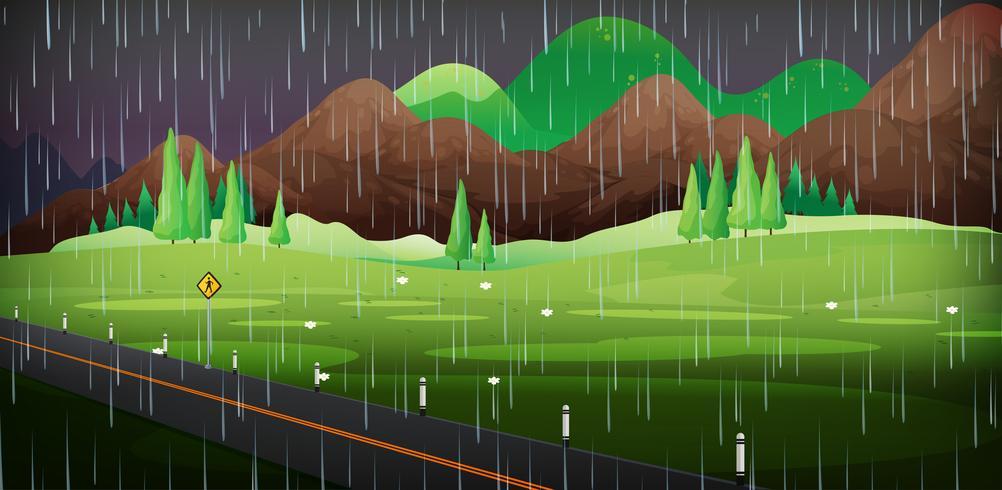 Hintergrundszene mit Regen im Park