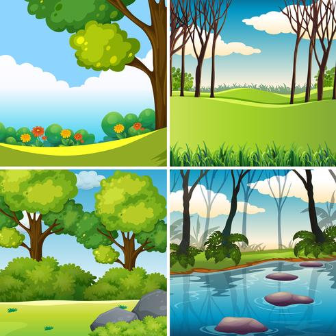 Un conjunto de paisajes de la naturaleza. vector