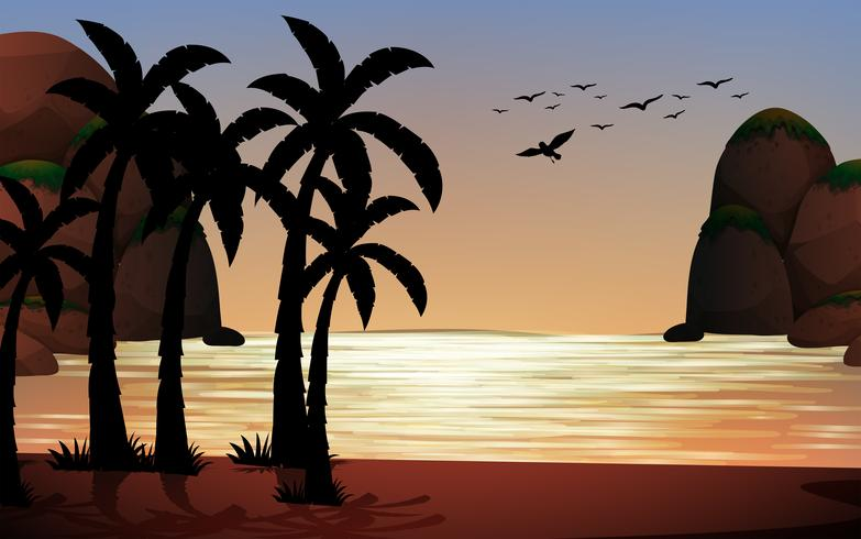 Silhouette scene of the beach
