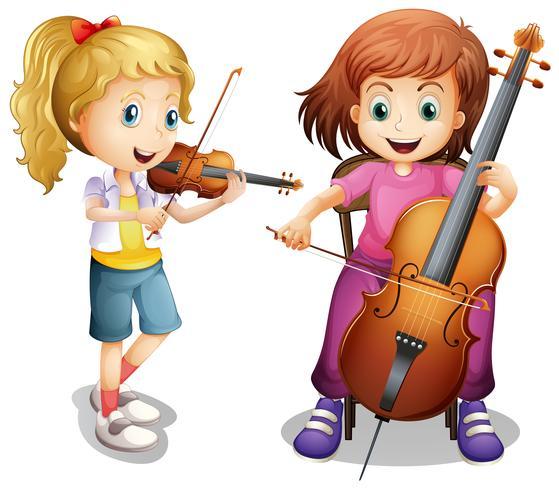 Meninas, violino jogo, e, violoncelo