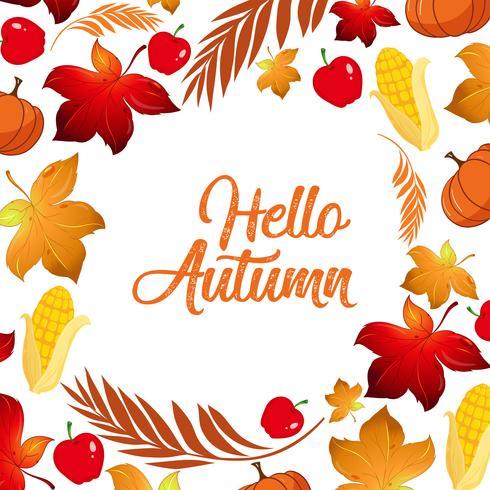 Bonjour modèle de feuille d'automne vecteur