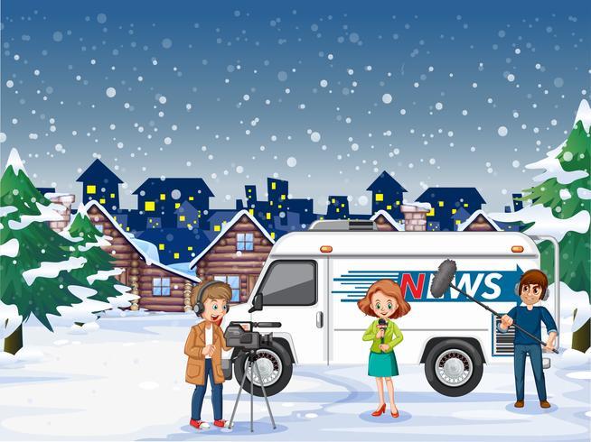 Periodista de noticias trabajando al aire libre vector