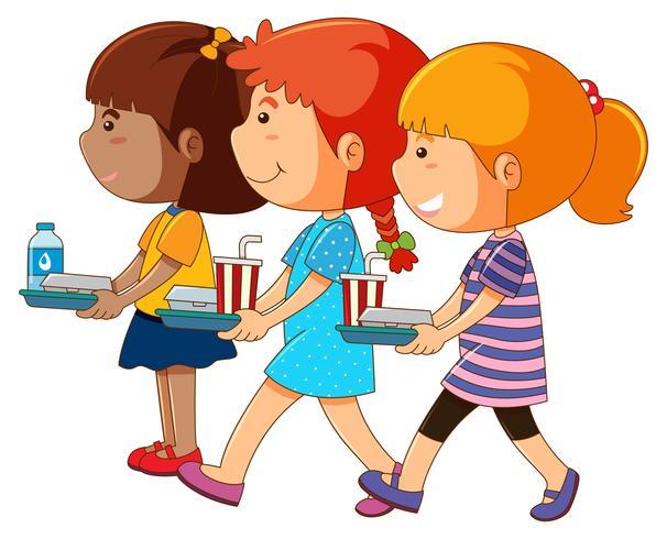 Trois filles tenant un plateau de nourriture vecteur