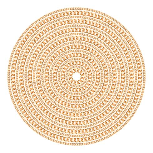 Patrón redondo realizado con cadenas de oro. Aislado en el fondo blanco. Ilustración vectorial
