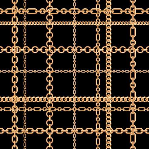 Cadenas de oro sin patrón. Ilustración vectorial vector