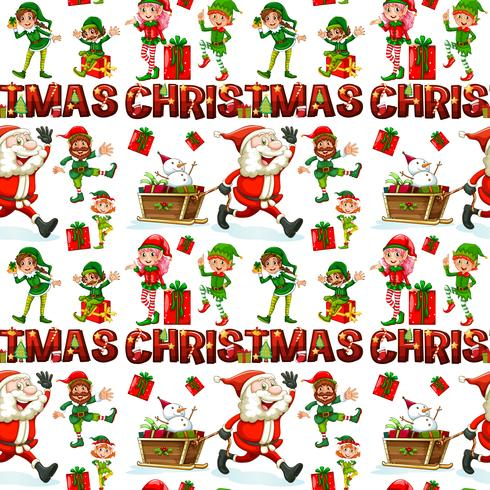 Seamless background with Santa and elf for christmas
