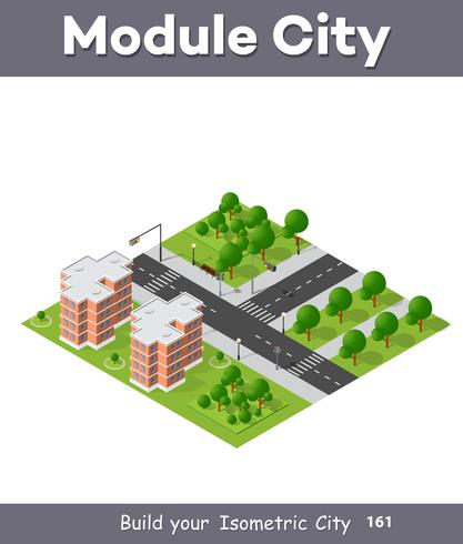 Isometrische 3D-Projektion des Stadtviertels von oben vektor