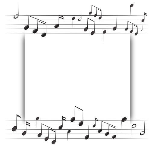 Plantilla de papel con notas musicales en el fondo vector