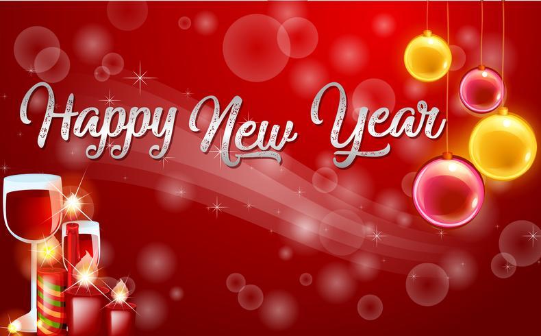 Modelo de cartão vermelho feliz ano novo