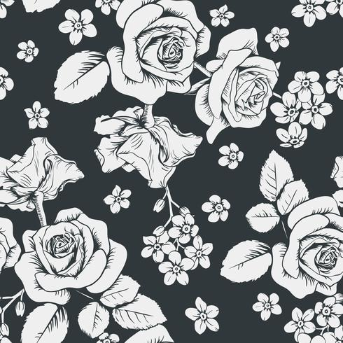 Witte rozen en myosotisbloemen op zwarte achtergrond. Naadloos patroon. Vector illustartion