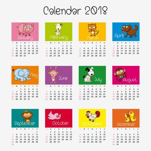 Plantilla de calendario con diferentes animales