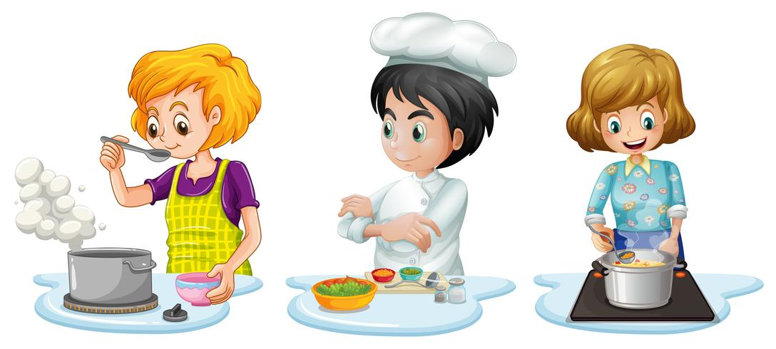 Människor lagar mat i köket