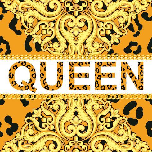 Élément ornemental jaune sur la texture des animaux léopard avec chaînes et reine du texte. Illustration vectorielle