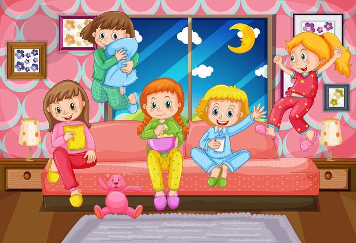 Cinque ragazze che hanno pigiama party di notte vettore