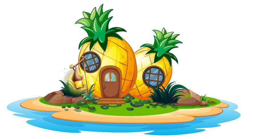 Maison d'ananas sur l'île vecteur