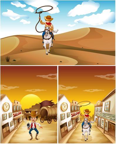 Cowboy in tre scene diverse vettore