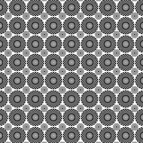 patrón de medallón círculo negro blanco vector