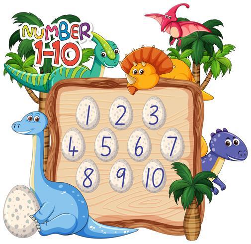 Comptez le thème des dinosaures numéro un à dix vecteur