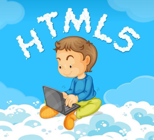 Um, homem jovem, inclinar-se, código html