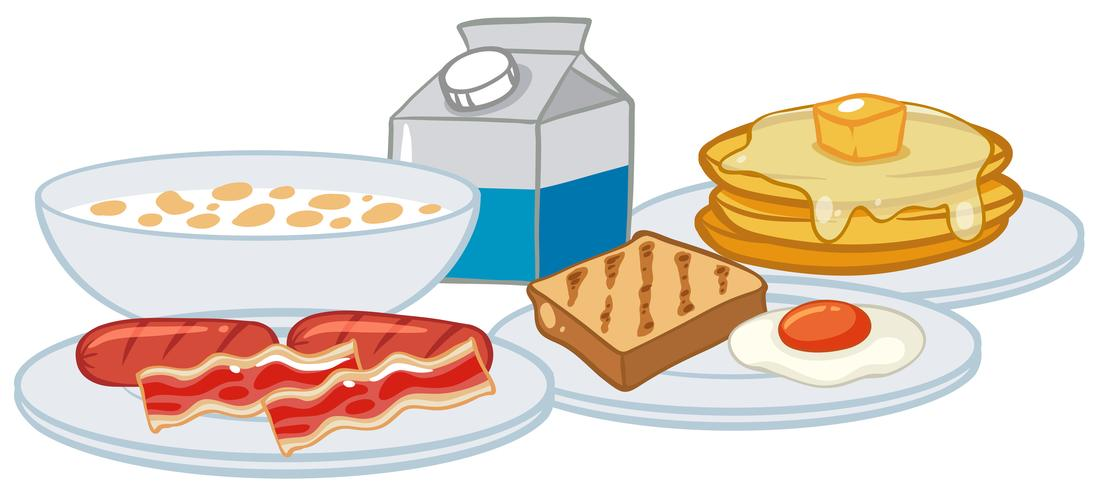 Een ontbijt dat op witte achtergrond wordt geplaatst