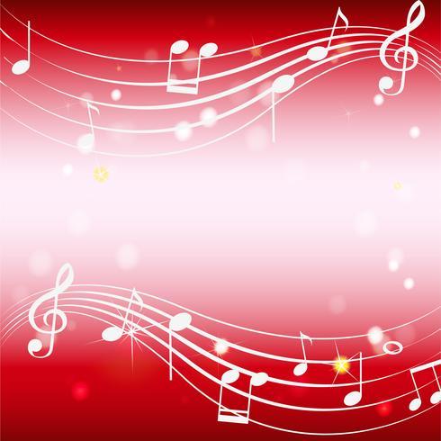 Modello di sfondo con musicnotes su rosso vettore
