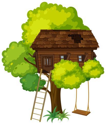Casa na árvore com balanço na árvore