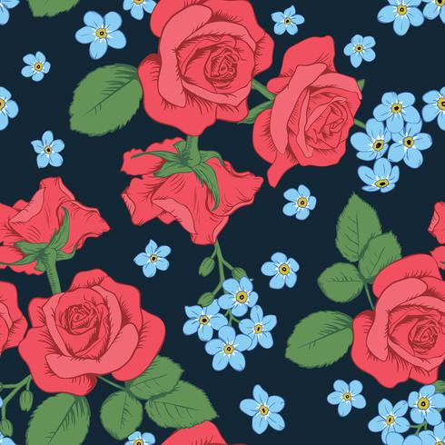 Red roses and myosotis flowers on dark blue background. Seamless pattern. Vector illustartion