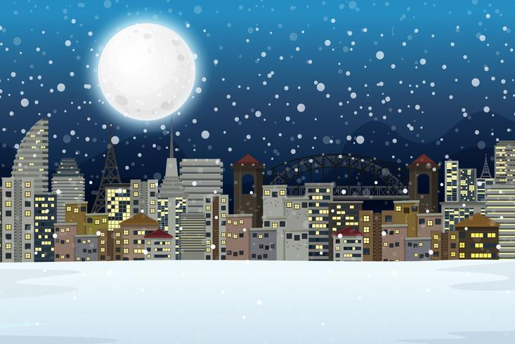 Winter night city landscape