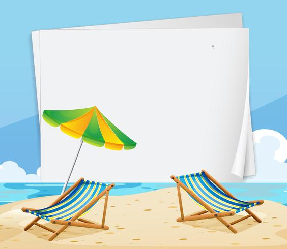 Modello di carta con sedie sulla spiaggia vettore