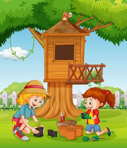 Ragazze che piantano accanto alla casa sull'albero vettore