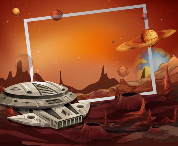 Tema de marco de nave espacial y espacio exterior vector