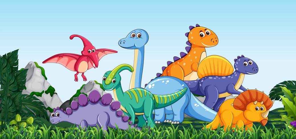Muitos dinossauros na natureza