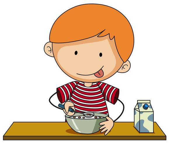 Kleiner Junge, der Getreide mit Milch isst vektor