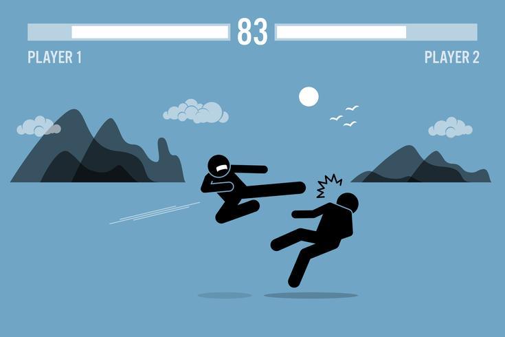 Cole os caráteres do lutador da figura que lutam em um jogo.