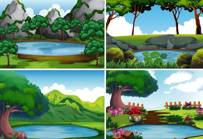 Cuatro escenas de fondo con estanque en el parque.