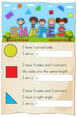 Math worksheet with three different shapes