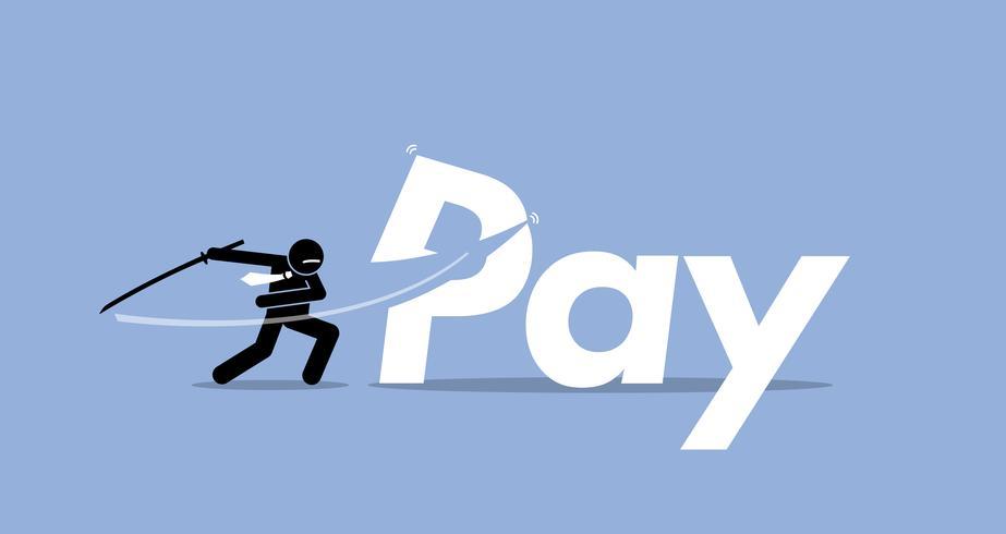 Pay cut by businessman.