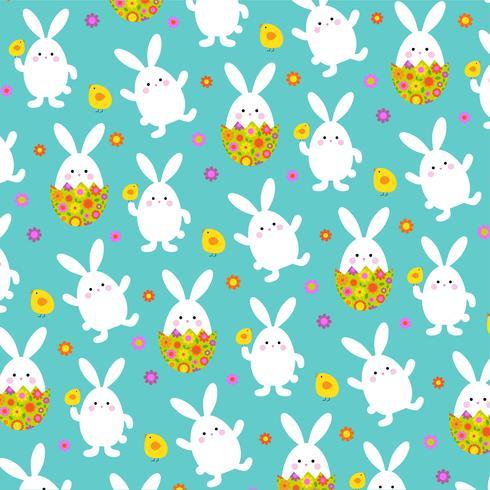Coniglietto di Pasqua e motivo floreale dell'uovo di Pasqua vettore