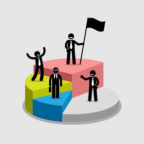 Affärsman står ovanpå varje del av ett cirkeldiagram.