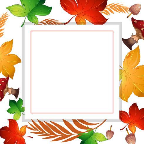 Folha de outono e quadro de cogumelo