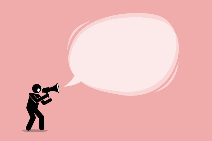 Personne qui parle et crie à l'aide d'un mégaphone pour promouvoir, appeler et raconter une annonce importante dans un grand message-bulle promotionnel.