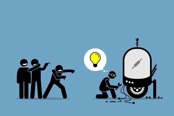 Critici che deridono e prendono in giro un inventore dal creare e inventare una nuova idea e una tecnologia straordinaria.