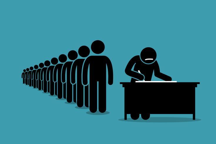 Personas en línea y en cola firmando por petición con firmas.
