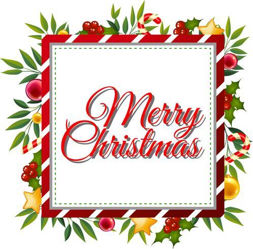 Modèle de carte de joyeux Noël avec ornements en arrière-plan vecteur
