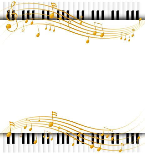 Border template with with piano keyboards and musicnotes